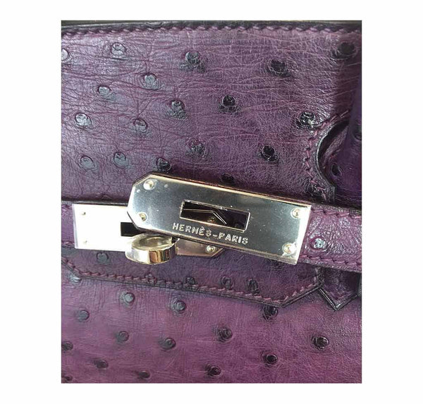 hermes birkin 30 ostrich raisin used engraving
