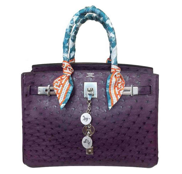 Hermes Birkin 30 Raisin Ostrich Bag