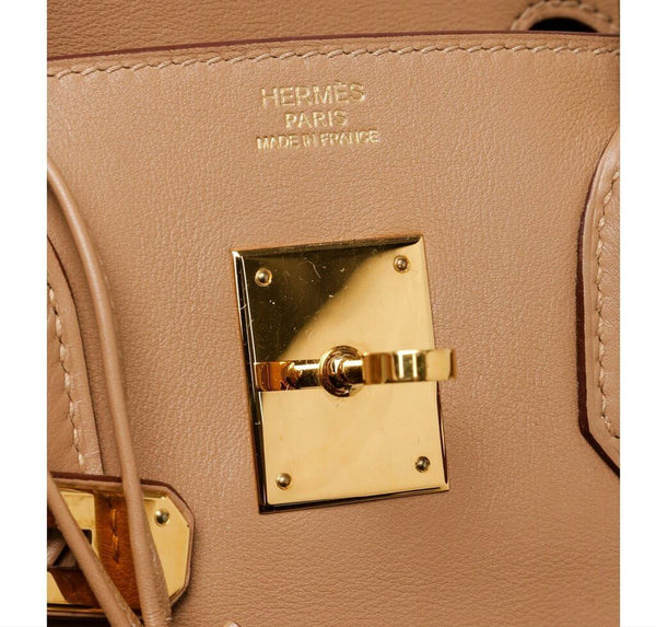hermes birkin 30 tan used embossing