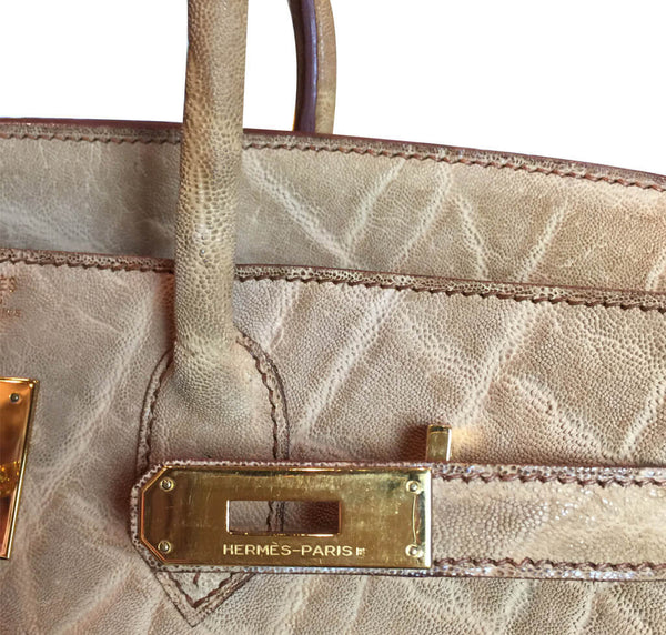 Hermes Birkin 32 HAC Bag Natural Elephant GHW