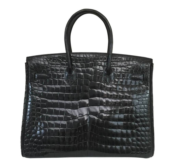 Hermes Birkin 35 Black Shiny Crocodile Used back