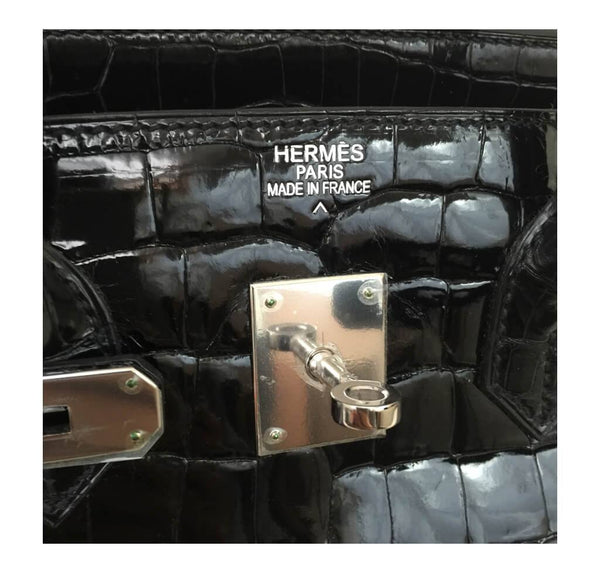 Hermes Birkin 35 Black Shiny Crocodile Used embossing