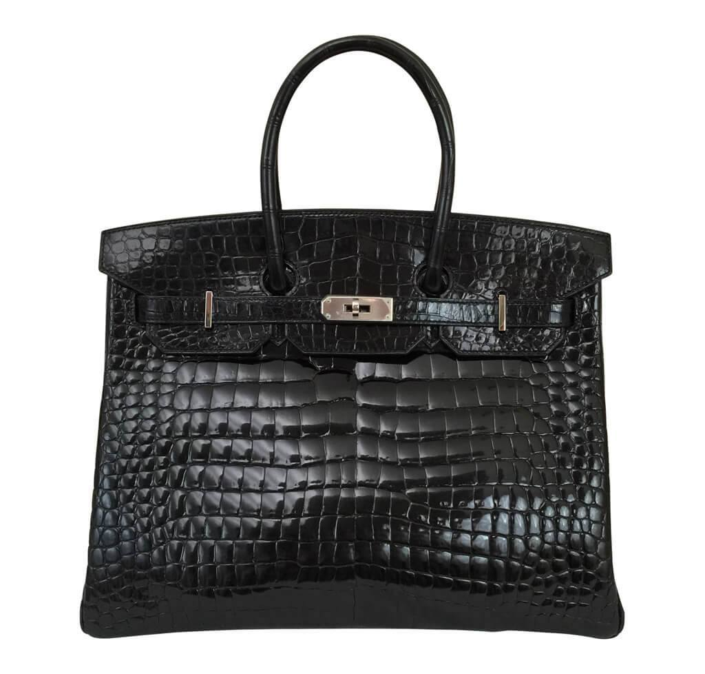 7f2754cf314e9 Hermes Birkin 35 Black Crocodile Bag Hermes Birkin 35 Black Shiny Crocodile  Used ...