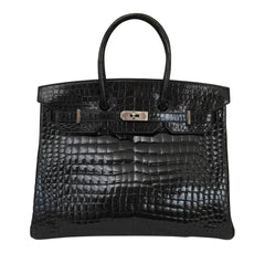 Hermes Birkin 35 Black Crocodile Bag