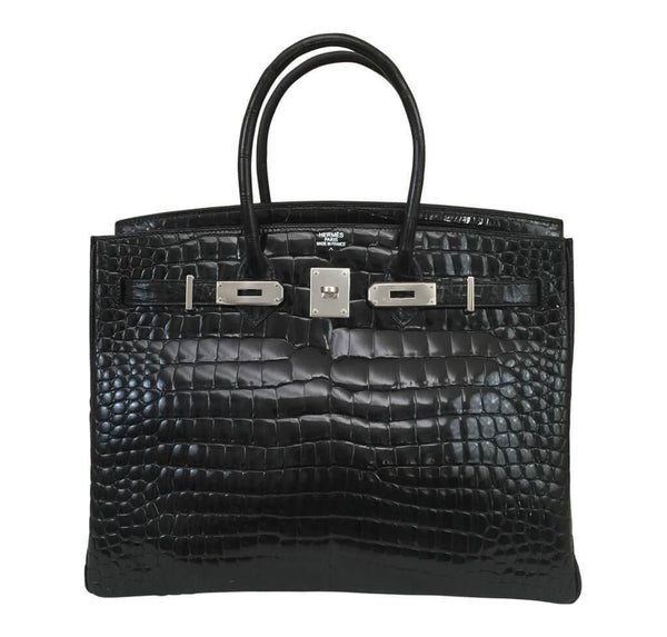 Hermes Birkin 35 Black Shiny Crocodile Used front open