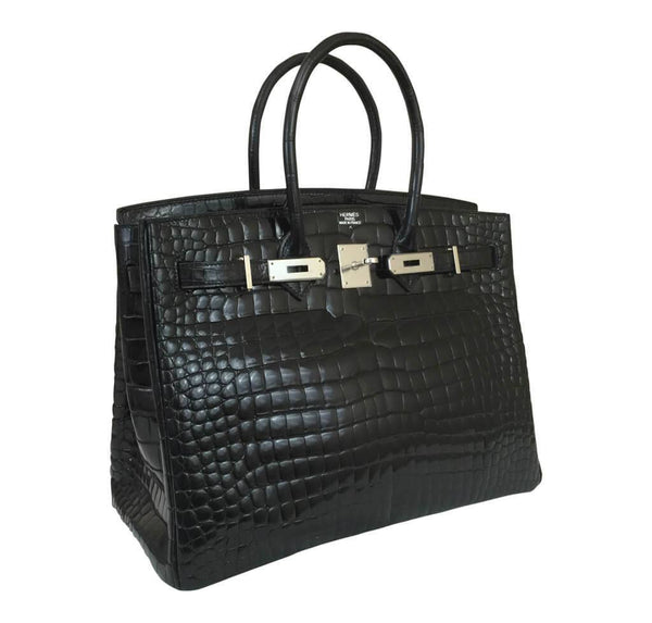 Hermes Birkin 35 Black Shiny Crocodile Used side