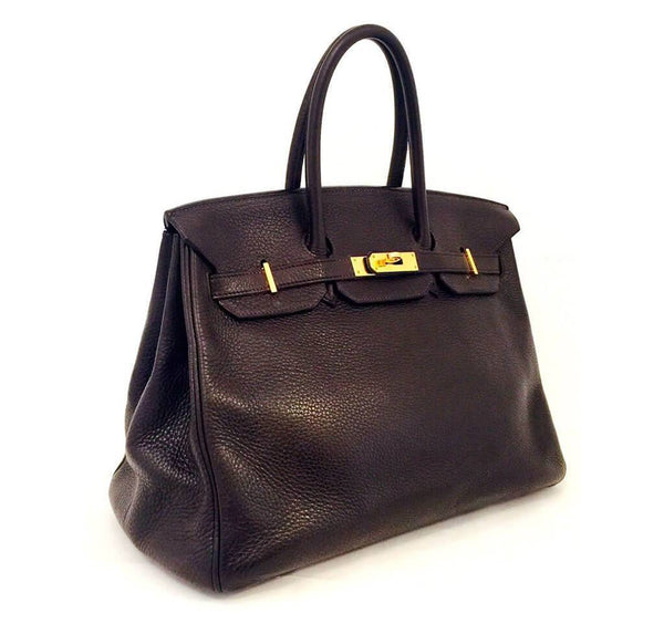 Hermes Birkin 35 Chocolate Brown Used Side