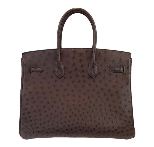 hermes birkin 35 ostrich brown used back