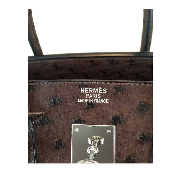 hermes birkin 35 ostrich brown used embossing
