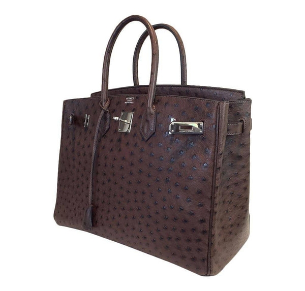 hermes birkin 35 ostrich brown used side open