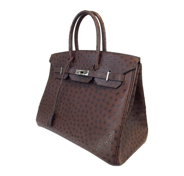 hermes birkin 35 ostrich brown used side