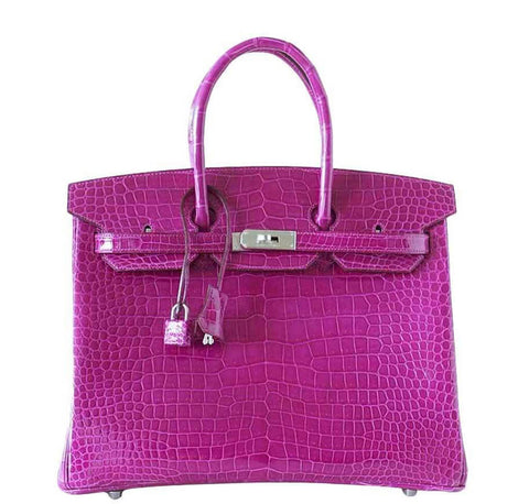 Hermes Birkin 35 Rose Crocodile Bag