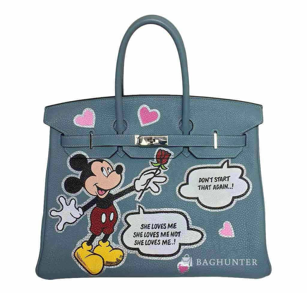 a3d09e0bba45 Hermès Birkin 35 Custom Artwork Mickey Mouse Bag