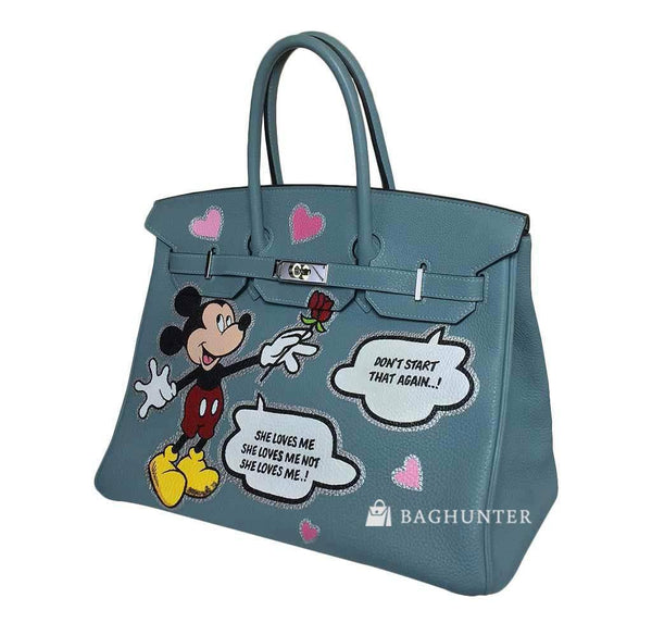 hermes birkin 35 special mickey mouse used side