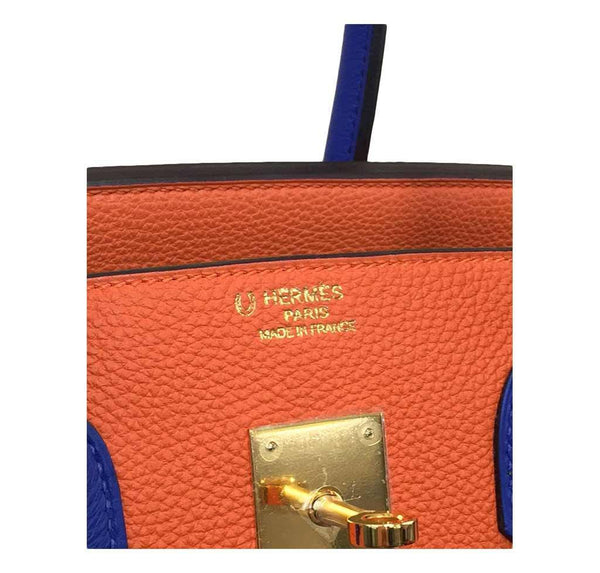 hermes birkin 35 special order blue orange new embossing