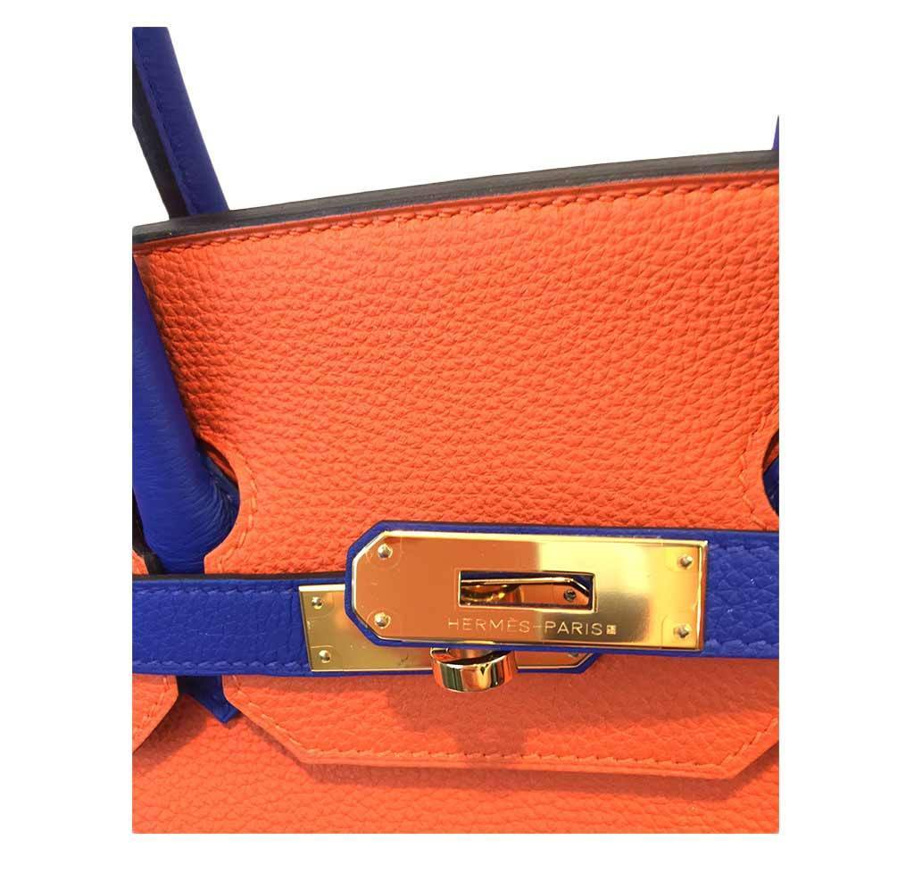 ed163989f1ae ... hermes birkin 35 special order blue orange new engraving ...