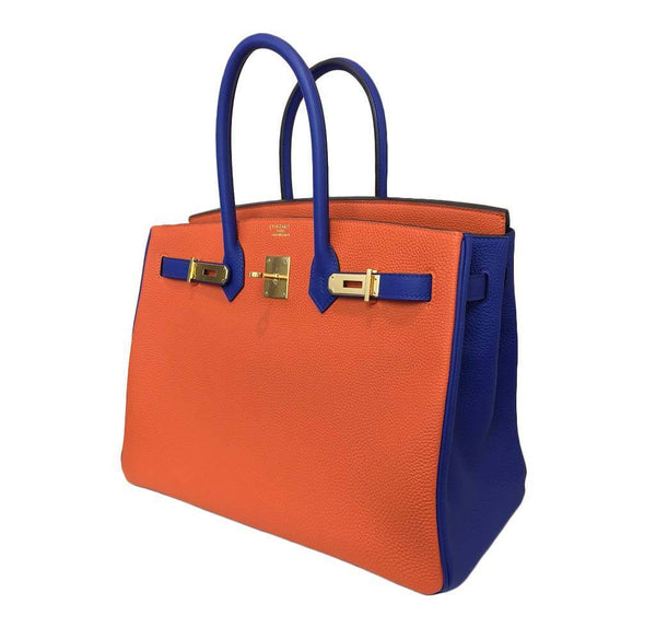 hermes birkin 35 special order blue orange new open