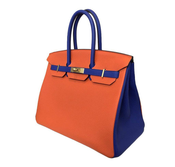 hermes birkin 35 special order blue orange new side