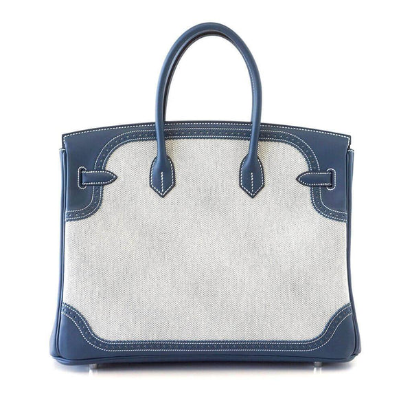 Hermes Birkin Ghillies 35 Blue New Back