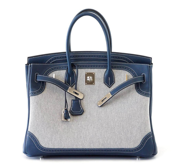 Hermes Birkin Ghillies 35 Blue New Open