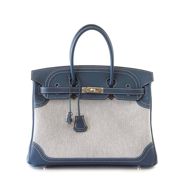 Hermes Birkin Ghillies 35 Blue Bag