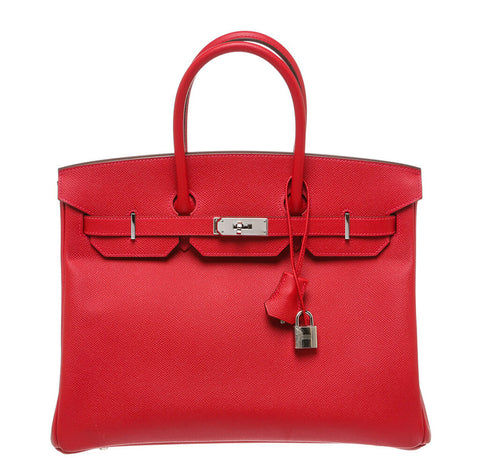 Hermes Birkin 35 Bag Rouge Casaque