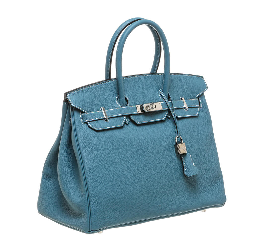 Herm 232 S Birkin 35 Bag Blue Jean Togo Leather Palladium