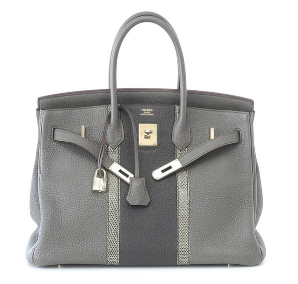 Hermes Club Birkin Limited Edition Etain Graphite Used Front Open