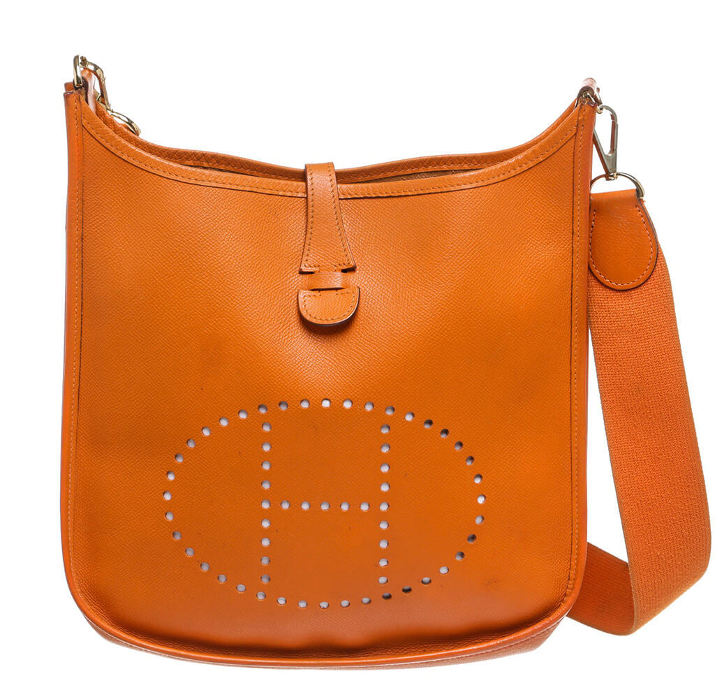 a97d4f260f62 Hermès Evelyne Bag PM Orange Clemence Leather - Palladium | Baghunter