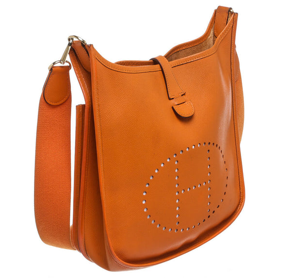 Hermes Evelyne Bag Orange Clemence Leather