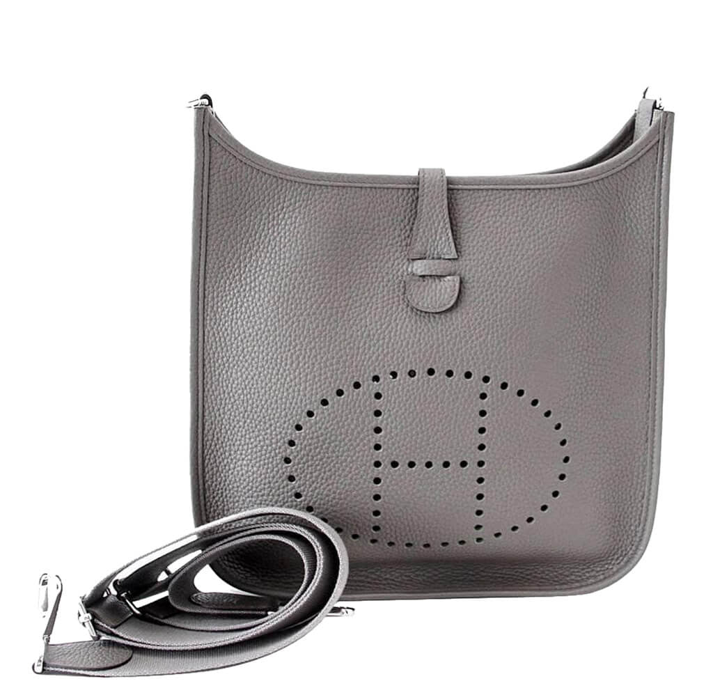 Hermès Evelyne PM Bag Etain - Clemence Leather Palladium Hardware ... 5afcc8ca986
