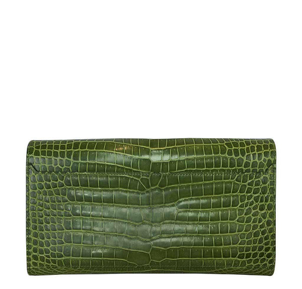 hermes good luck clutch gold green pelouse used back