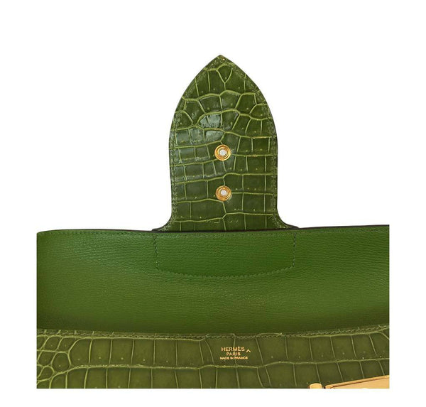 hermes good luck clutch gold green pelouse used detail