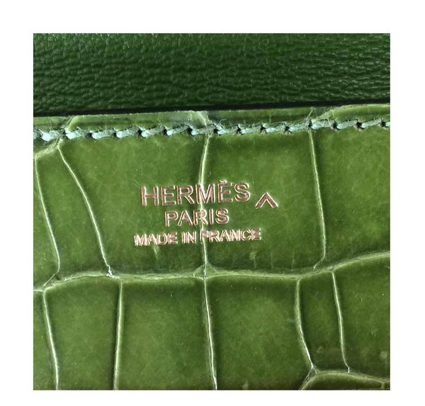 hermes good luck clutch gold green pelouse used embossing