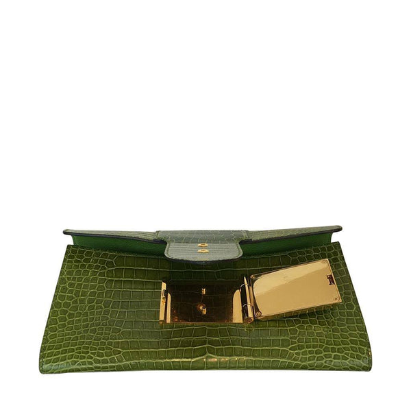 hermes good luck clutch gold green pelouse used open