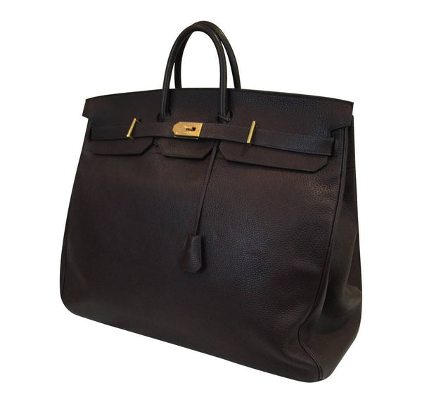 hermes hac bag 55 brown used side