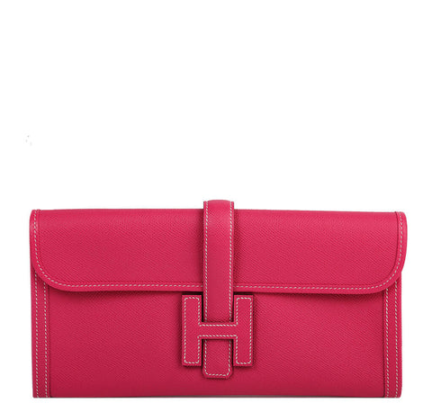 Hermes Jige Clutch Bag Rose Tyrien
