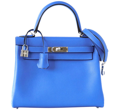 Hermes Kelly 28 Blue Hydra Evergrain