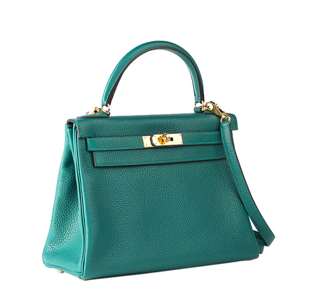 hermes leather bags - Hermes Kelly 28 Bag Malachite Togo Leather - Gold Hardware | Baghunter
