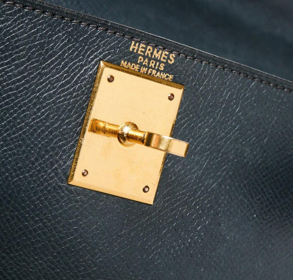 hermes kelly 28 navy blue used embossing