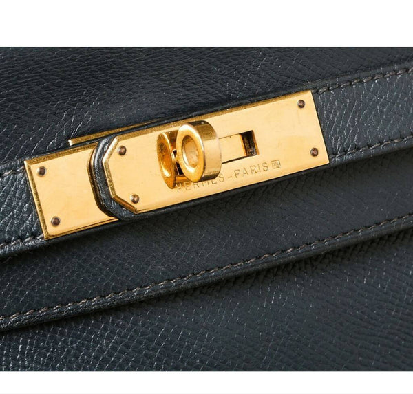 hermes kelly 28 navy blue used engraving