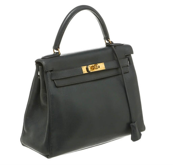 hermes kelly 28 navy blue used side
