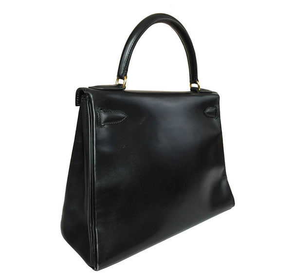 Hermes Kelly 28 Bag Black Swift