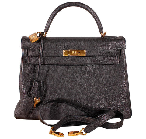 Hermes Kelly 32 Bag Black Togo