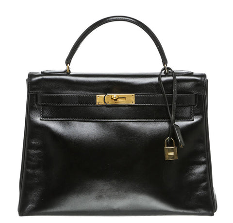 Hermes Kelly 32 Bag Noir Box Leather