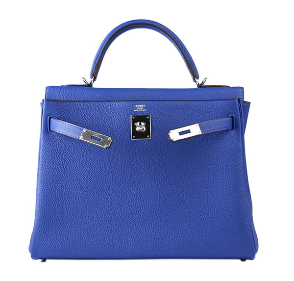 Hermes Kelly 32 Bag Blue Togo