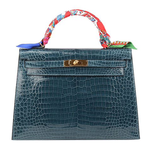 Hermes Kelly Bag Blue Roi Crocodile
