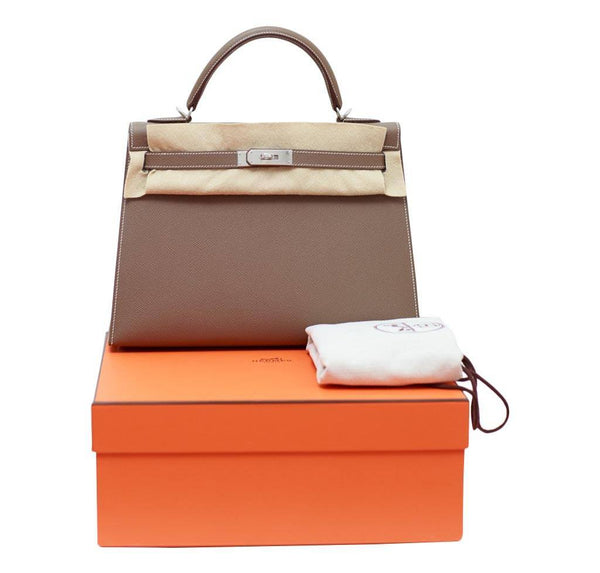 hermes kelly 32 etoupe new set