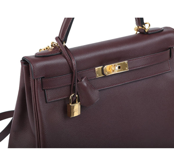Hermes Kelly 32 Bag Prune Evercolor