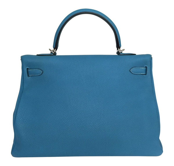 Hermes Kelly 35 Blue Jean Used back